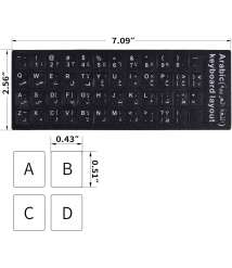 Arabic Keyboard Stickers, Replacement Stickers Black Background with White Letters for Computer Laptop Notebook Desktop (Arabic)