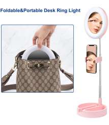 Foldable Ring Light with Phone Holder&Mirror for Live Streaming/Makeup,Livelit Camera Selfie Ringlight for YouTube Video/Photography Compatible with iPhone&Android (Pink)